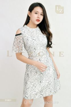 31851 LACE FLORAL DRESS【ONLINE EXCLUSIVE 35%】