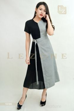 10185 PLUS SIZE CONTRAST MIDI DRESS【BUY 2 FREE 3】