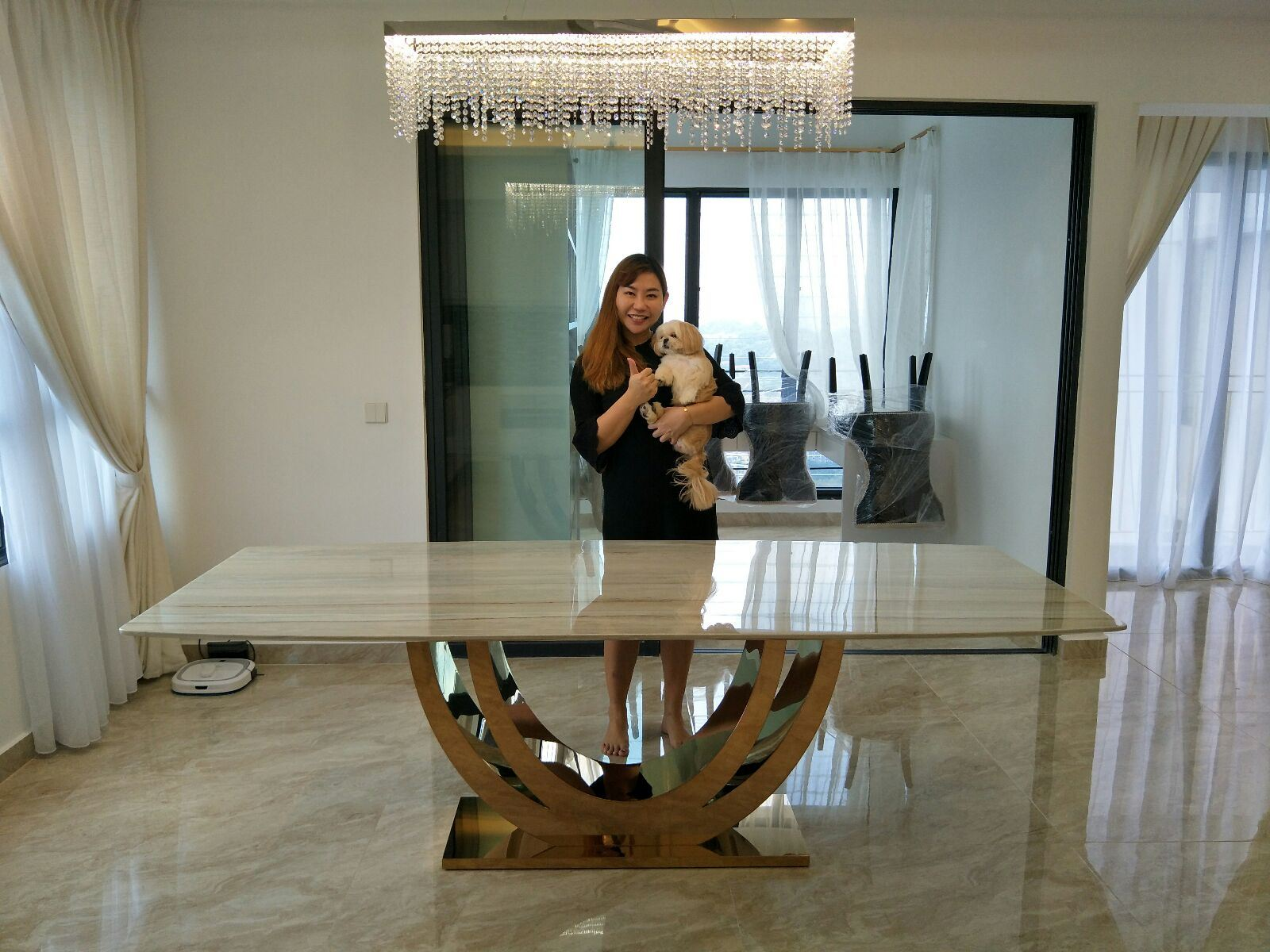 Marble Dining Table From Italy - Palisandro Marble