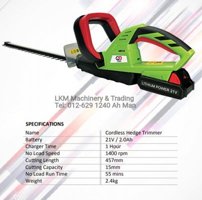 Cordless Hedge Trimmer 21V 2.0Ah