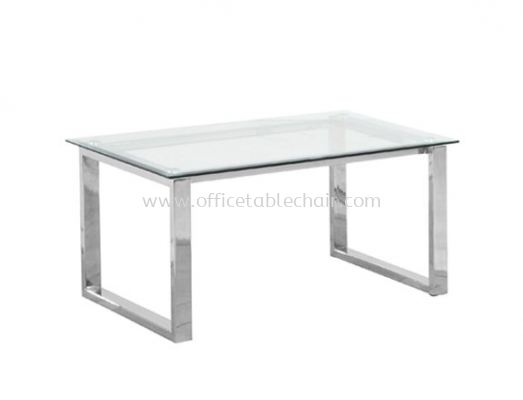 RECTANGULAR COFFEE TABLE C/W TEMPERED GLASS TABLE TOP
