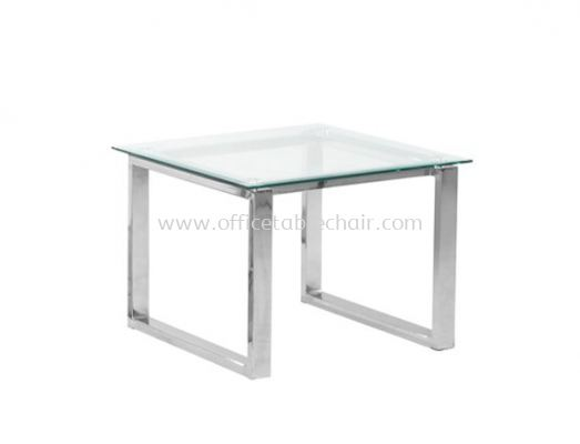 SQUARE COFFEE TABLE C/W TEMPERED GLASS TABLE TOP