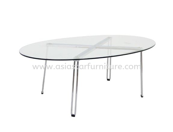FURA OVAL COFFEE TABLE C/W TEMPERED GLASS TABLE TOP - Most Wanted Coffee Table   coffee table Wangsa Maju   coffee table Kepong   coffee table Segambut
