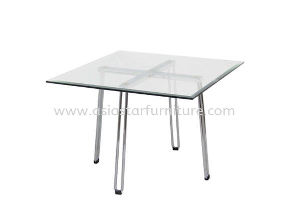 FURA SQUARE COFFEE TABLE C/W TEMPERED GLASS TABLE TOP  - Best Promotion Coffee Table   office sofa coffee table   office sofa coffee table   coffee table Setiawangsa