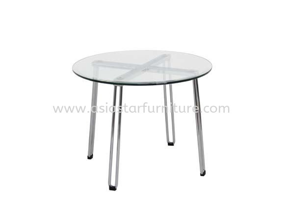 FURA ROUND COFFEE TABLE C/W TEMPERED GLASS TABLE TOP - Show Unit Coffee Table   coffee table Kota Damansara   coffee table Puchong   coffee table Cheras   coffee table KL