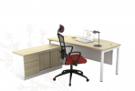 SL-180A EXECUTIVE TABLE WITH METAL PANEL & SIDE CABINET Executive Series Office Working Table Office Furniture