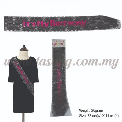 It's My Birthday Sash - Black (P-AC-IMBBL)