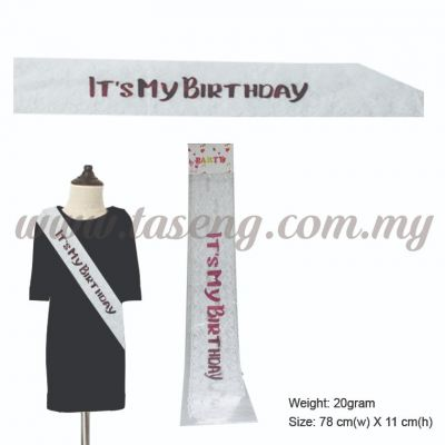 It's My Birthday Sash - White (P-AC-IMBW)