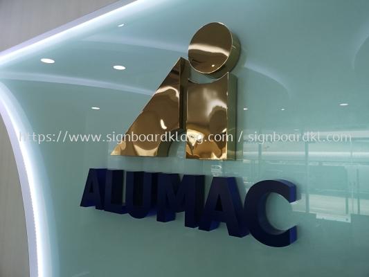 Alumac Sdn bhd stainless steel gold 3D box up lettering signage at sugai buloh Kuala Lumpur