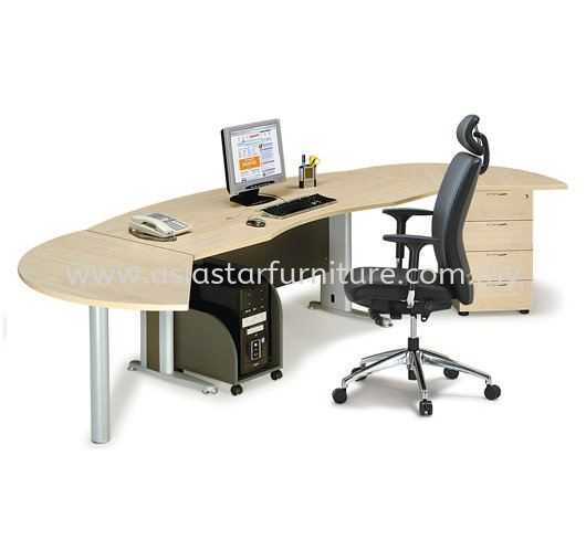 TITUS EXECUTIVE OFFICE TABLE CURVE C/W FIXED PEDESTAL & SIDE DISCUSSION TABLE ATMB55 (FRONT) - executive office table Set Balakong | executive office table Set Kuchai Lama | executive office table Set Bangsar