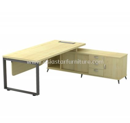 DIRECTOR TABLE METAL O-LEG C/W WOODEN MODESTY PANEL & SIDE CABINET Q-SRWE 2023 (TOP 41THK)