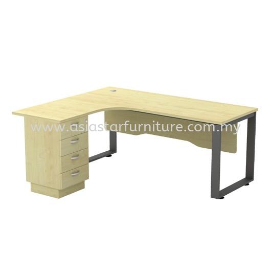 L-SHAPE TABLE METAL O-LEG C/W WOODEN MODESTY PANEL & FIXED PEDESTAL 4D SQWL 1515-4D