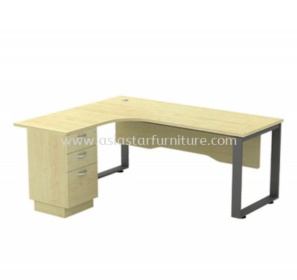 L-SHAPE TABLE METAL O-LEG C/W WOODEN MODESTY PANEL & FIXED PEDESTAL 3D SQWL 1515-3D
