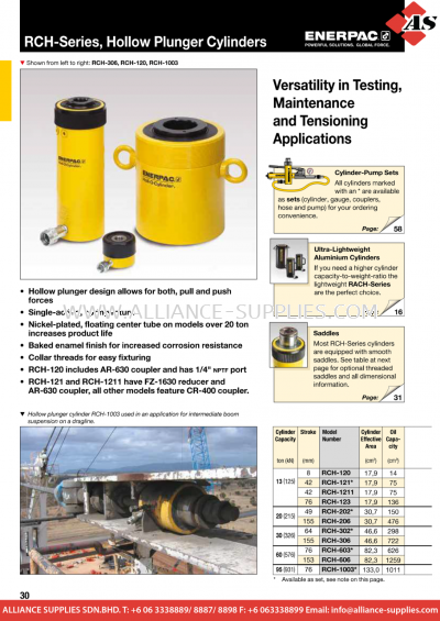 24.01.15 RCH-Series, Single-Acting, Hollow Plunger Cylinders