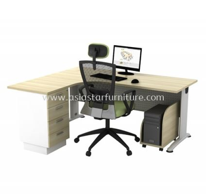 L-SHAPE TABLE METAL J-LEG C/W STEEL MODESTY PANEL WITH FIXED PEDESTAL & CPU HOLDER BL 1815-4D(L) + YCPU SET