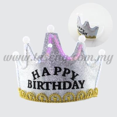 Hairband 8 CROWN Glitter Happy Birthday (Light) *Silver (DU-HB8G-SI)