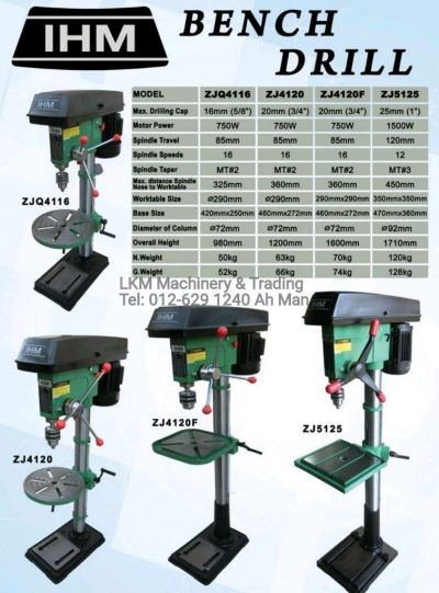 16mm, 20mm & 25mm Bench Drilling Machine
