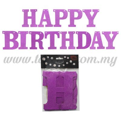 Banner Happy Birthday Glitter - Purple (P-BN-XH8288-1-PP)