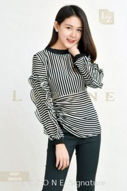 6597 STRIPED SLEEVE BLOUSE