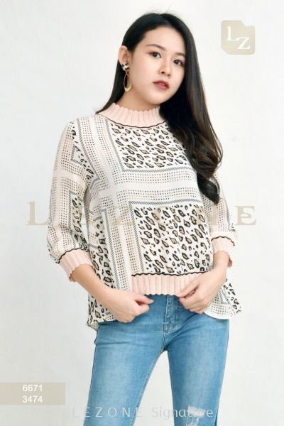 6671 Leopard Printed Blouse