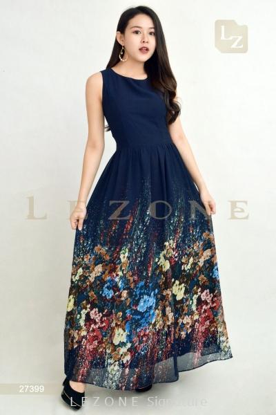 27399 MAXI PRINTED FLORAL DRESS