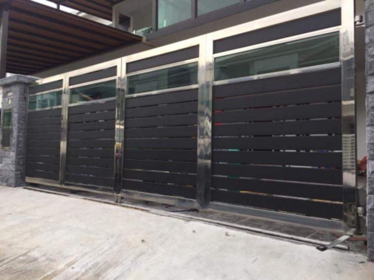 To installation Stainless steel aluminum wood gate door