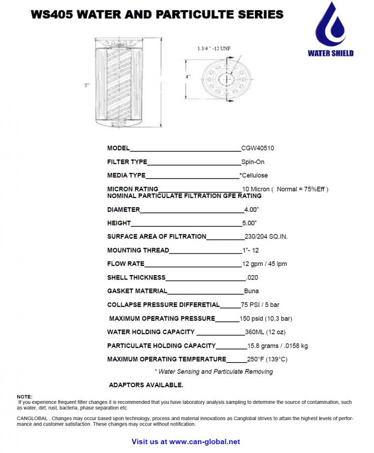 WS405 Water and Particulte Series Water Shield Filters