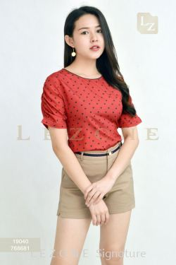 19040 POLKA DOT SLEEVE  BLOUSE