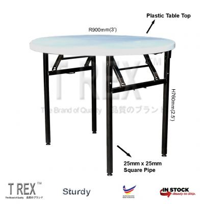 3V 3' Round Folding Banquet Table with Plastic Table Top (Black)