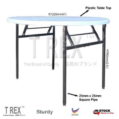3V 4' Round Folding Banquet Table with Plastic Table Top (Black)