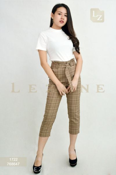 768647 PLAID 3/4 PANTS ��2nd pcs onwards 50%��