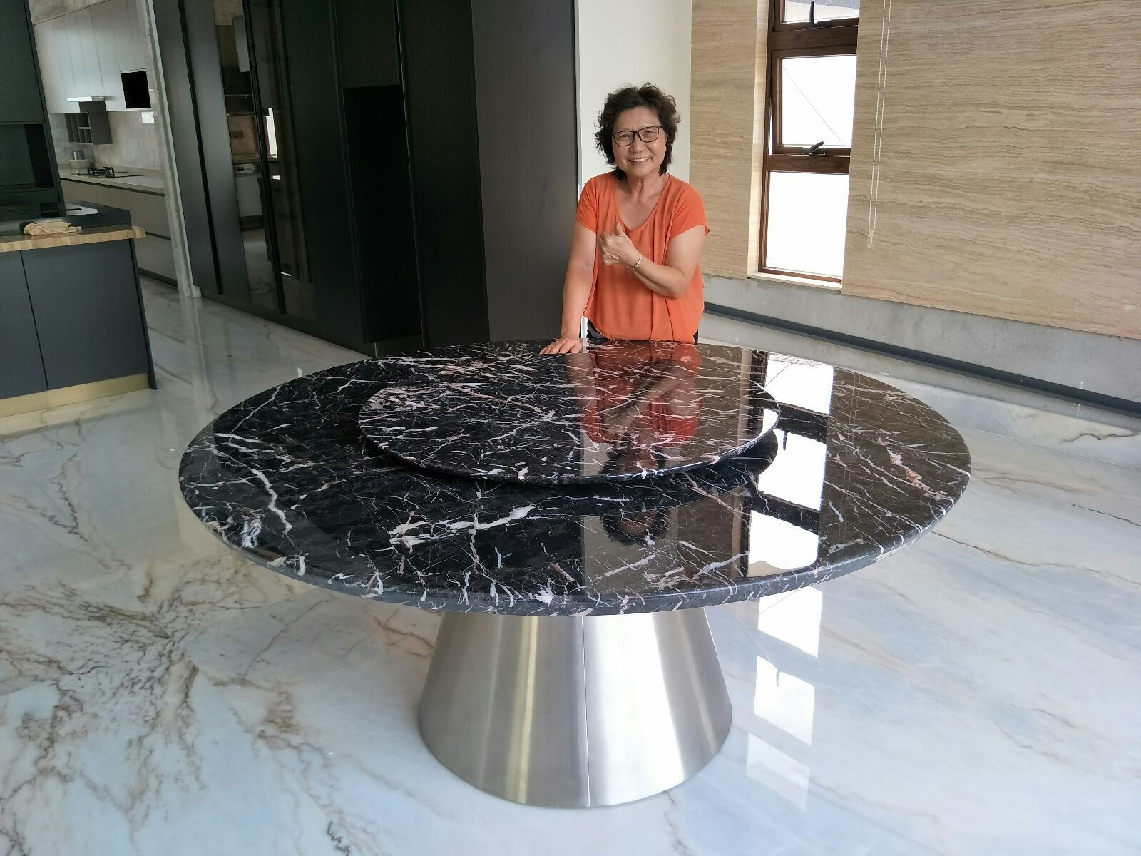 Modern Marble Dining Set From Spain - Marrone Marble From Spain