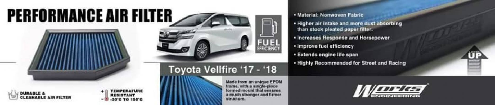 Toyota vellfire 2015-18 Works engineering air filter