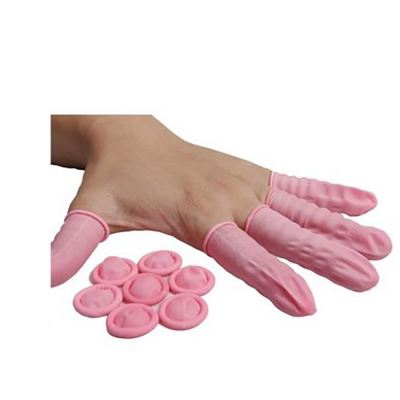 Antistatic Latex Finger Cots (Pink/White)