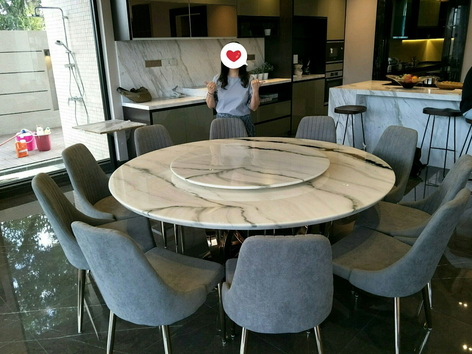 Modern Marble Dining Table From China - Panda White Marble