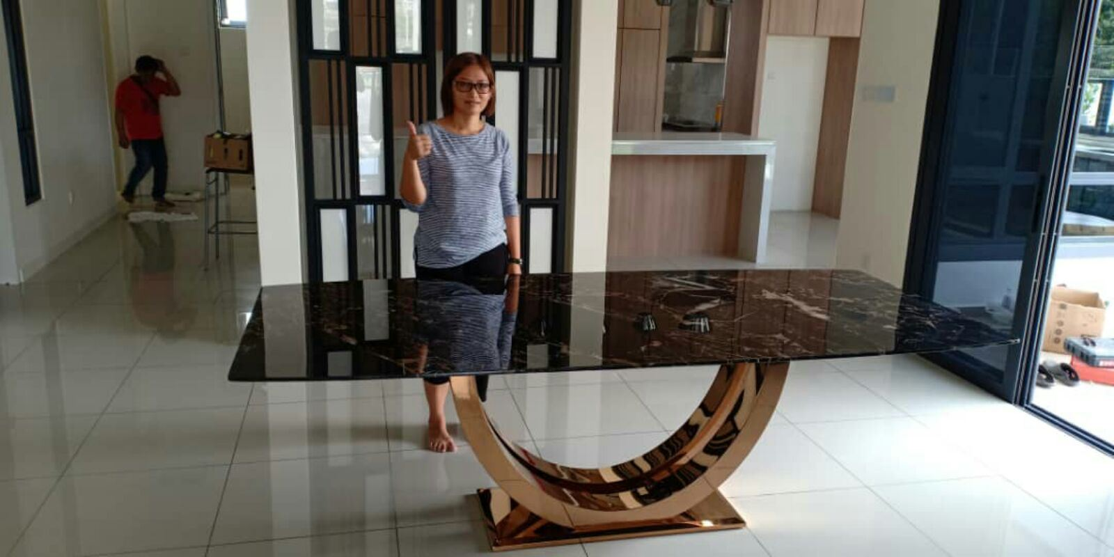 Modern Design Marble Table From China - Portoro Gold Marble