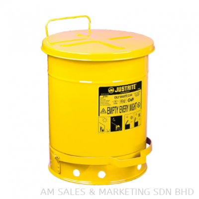 Justrite 14 Gallon Oily Waste Can, Foot-Operated Self-Closing Cover, Yellow (09501)