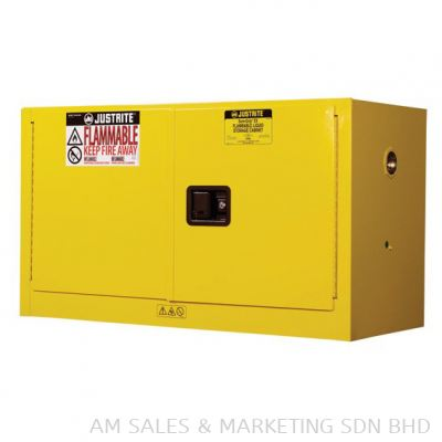 Justrite 17 Gallon Sure-Grip® EX Piggyback Flammable Safety Cabinet, 2 Manual Close Doors, Yellow (891700)
