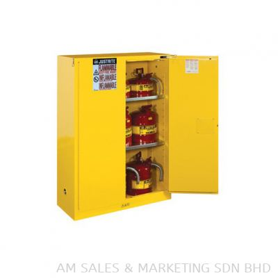 Justrite 45 Gallon Cabinet Self-Closing Yellow Flammable Safe Sure-Grip EX (894520)