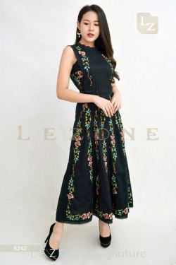 6242 EMBROIDERED MAXI FLORAL DRESS【1ST 10% 2ND 15% 3RD 20%】