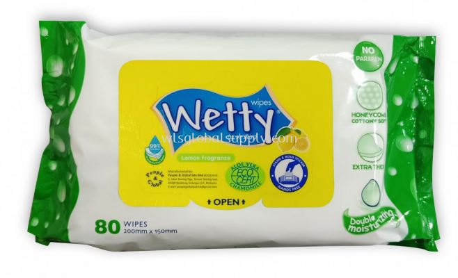Wetty Wet Wipes 2 x 80's (Twin Pack) - Lemon