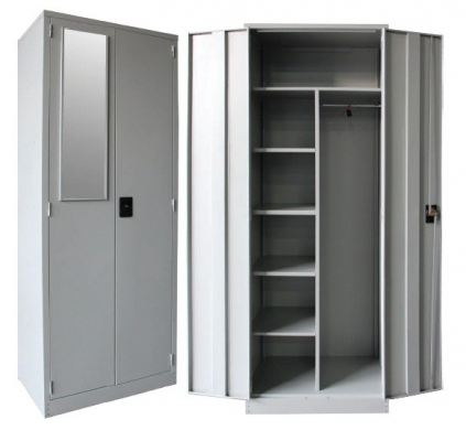 Full height wardrobe with steel swinging door w 1 mirror n shelves