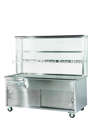 tea counter with glass overshelf