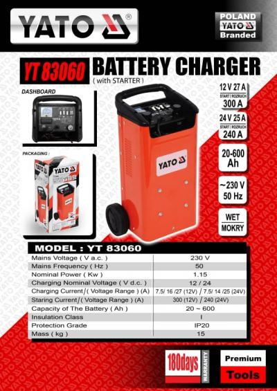 Poland Yato YT-83060 Car Battery Charger( With Starter)