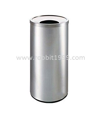 STAINLESS STEEL ROUND WASTE BIN c/w open top - 28lt STAINLESS STEEL RUBBISH BIN