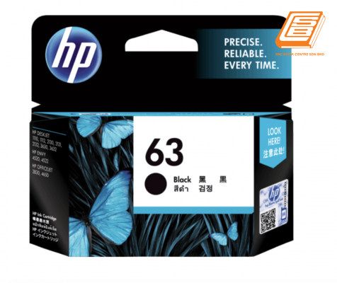 HP - 63 Black Ink Cartridge (Original)