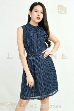 20111 POLKA DOT  SLEEVELESS DRESS