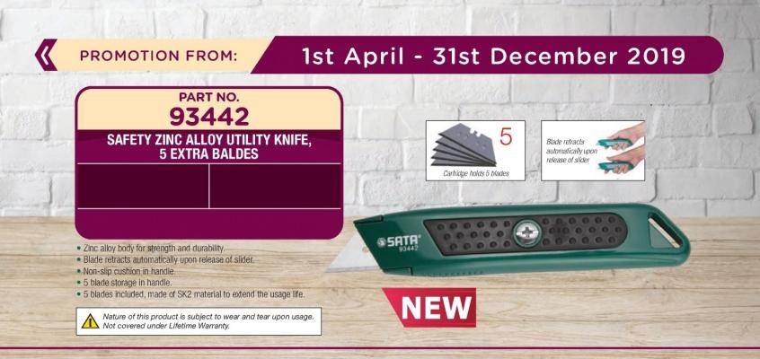 Sata 93442 Safety Zinc Alloy Utility Knife , 5 Extra Blades