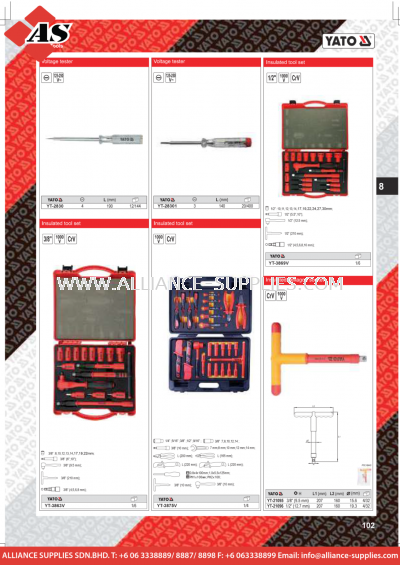 YATO Voltage Tester / Insulated Tool Set / Insulated Hexagon Socket