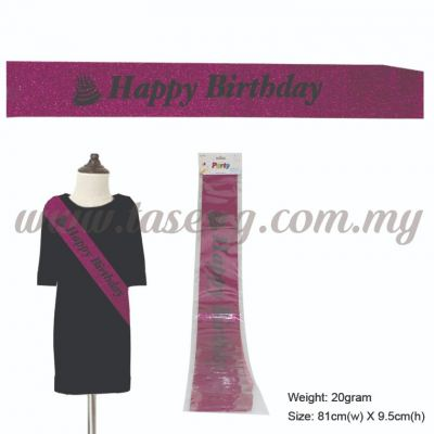 Happy Birthday Glitter Sash with Cake - Magenta (P-AC-SAHBCKG-MA)